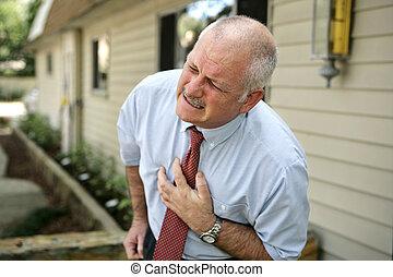 -, crise cardiaque, homme, mûrir