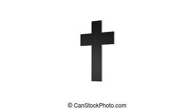 -, croix, loopable, isolé, arrière-plan., animation, rotation, blanc, 3d