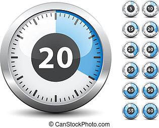 -, cronômetro, um, vetorial, cada, mudança, fácil, tempo, minuto