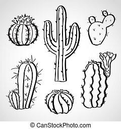 -, croquis, style, encre, ensemble, cactus