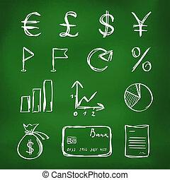 -, croquis, style, encre, ensemble, icônes, finance