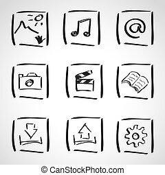-, croquis, style, encre, informatique, ensemble, icônes