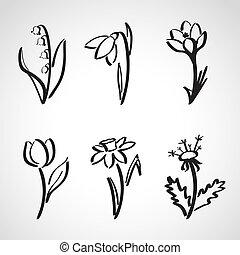 -, croquis, style, encre, printemps, ensemble, fleurs