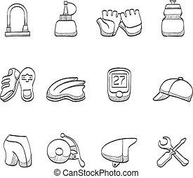 -, croquis, vélo, accessoires, icônes