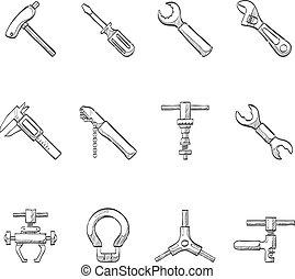 -, croquis, vélo, outils, icônes