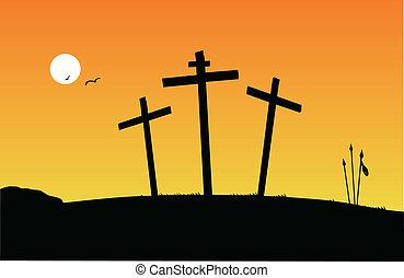 -, crucifixión, ocaso, escena