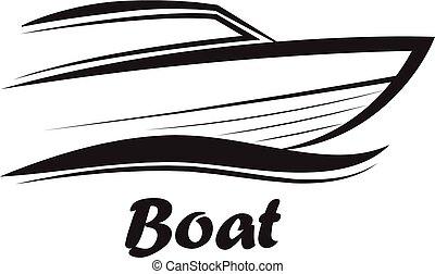 -, csónakázik, vektor, aláír, ábra