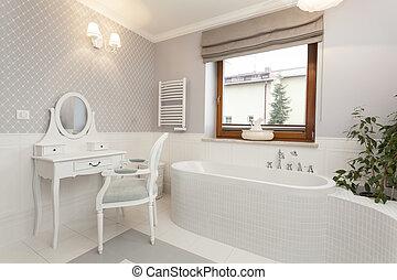 -, cuarto de baño, toscana, tabla, aliño