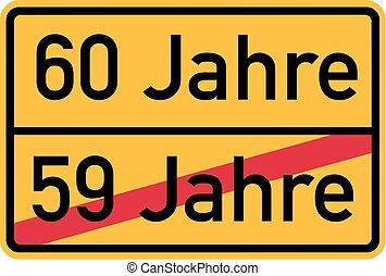 -, cumpleaños, alemán, 60th, roadsign
