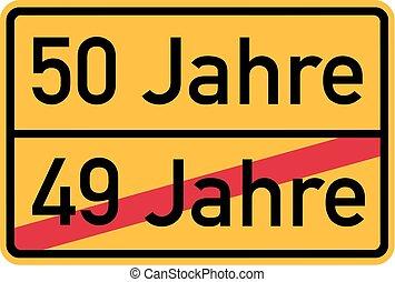 -, cumpleaños, alemán, roadsign, 50th