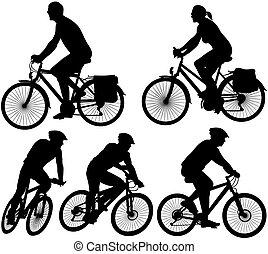 -, cykel, vektor, silhuett