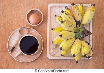 -, czarnoskóry, świeży, jajko, kawa, komplet, urżnięty, jadło, banan, zdrowy
