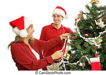 -, décorer, noël famille, arbre, amusement