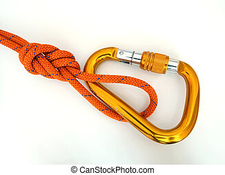 -, détail, équipement, noeud, escalade, carabine