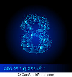 -, dígito, ocho, cristal quebrado