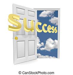 -, dörr, tillfälle, framgång