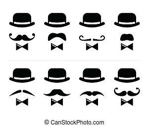 -, dżentelmen, wąsy, człowiek, ikona