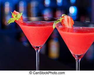-, daiquiri, collection, cocktails, fraise