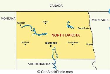 -, dakota, vecteur, nord, usa, état