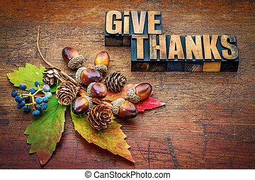 -, dare, ringraziamento, ringraziamento, concetto