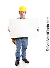 -, de arbeider van de bouw, serieuze , meldingsbord