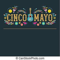 -, de, bannière, mai, conception, mexico., vacances, 5, fédéral, mayonnaise, fête, drapeaux, cinco, affiche