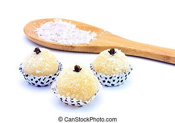 -, de, (beijinho, baiser, doux, brésilien, isolé, coco), fond blanc, cuisine, typique, noix coco