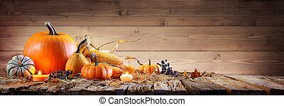 -, de madera, corncob, velas, calabazas, rústico, plano de fondo, tabla, acción de gracias