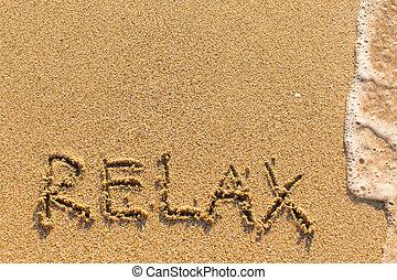 -, desenhado, praia, palavra, relaxe