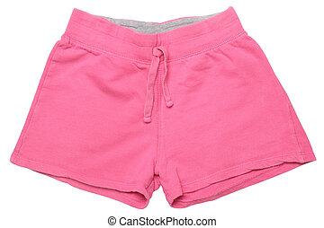 -, desgaste filhos, shorts cor-de-rosa