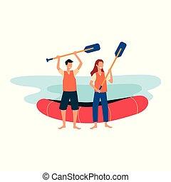 -, dessin animé, ligne, finition, rafting, rivière, debout, manettes, sourire, tenue, rivage, gens
