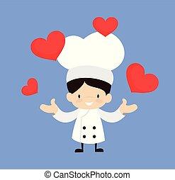 -, dessin animé, mignon, cœurs, présentation, chef cuistot