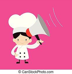 -, dessin animé, mignon, debout, loudhailer, chef cuistot
