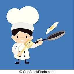 -, dessin animé, mignon, nourriture, chef cuistot, préparer