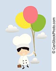 -, dessin animé, voler, mignon, chef cuistot, ballons