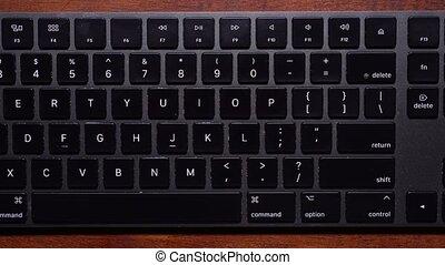 -, detent, ralenti, clavier, sommet, droit, bas, gauche, balayage