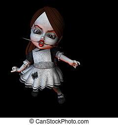 -, dia das bruxas, 5, faca, boneca