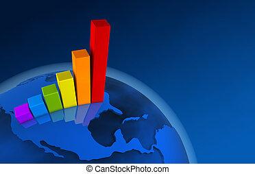-, diagramme, croissance, mondiale, amérique, 3d