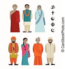 -, diferente, indianas, religiosas, pessoas
