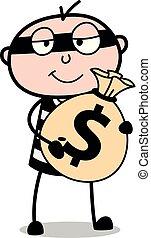 -, dinheiro, ilustração, ladrão, saco, vetorial, segurando, sujeito, criminal, caricatura