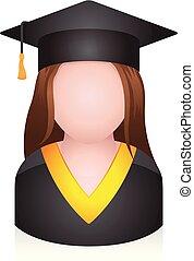 -, diplômé, gens, avatar, icônes, étudiant