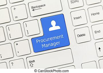 -, directeur, procurement, key), clavier, conceptuel, (blue, blanc