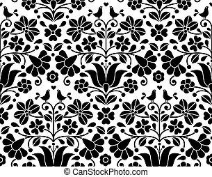 -, diseño, gente, floral, plano de fondo, bordado, kalocsa, seamless, húngaro, arte