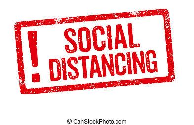 -, distancing, estampilla, fondo blanco, rojo, social