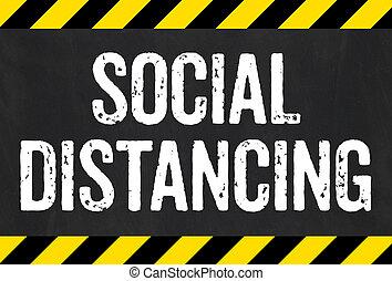 -, distancing, señal, rayas, precaución, social