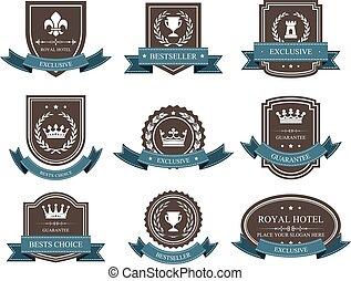 -, distinção, emblemas, coroas, fitas, emblemas