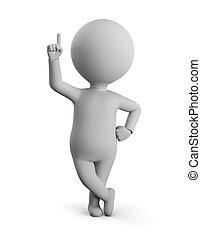 -, do góry, palec wskazujący, mały człowiek, 3d