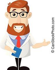 -, docteur, livre, tenue, présentation