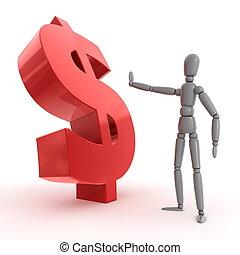 -, dolar znaczą, zatrzymanie, błyszczący, bok, czerwony,...