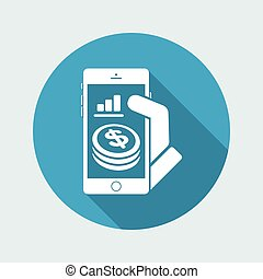 -, dollars, smartphone, financier, application